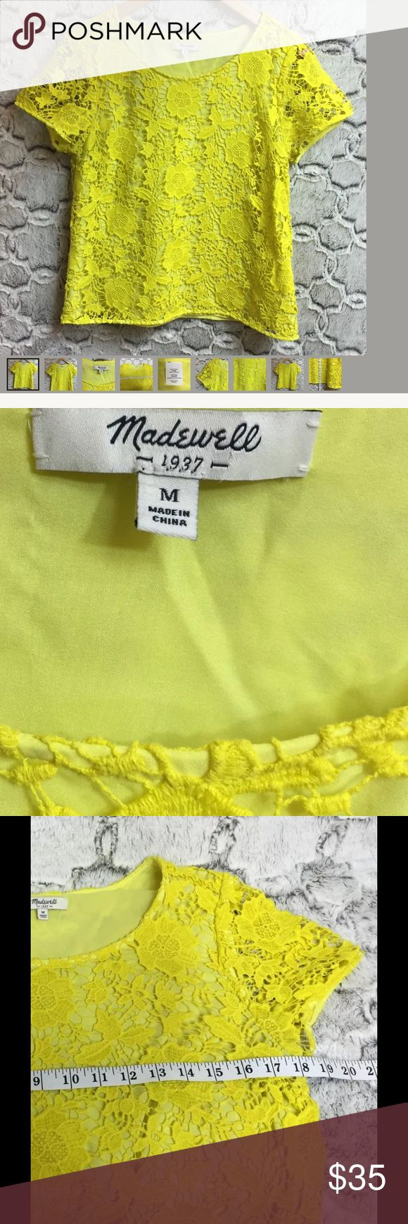 Madewell bright yellow lace crochet  shirt medium Size Medium, lined, Size Medium see pics for measurements Madewell Tops Blouses