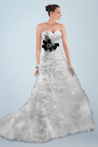 Funky Wedding Dresses - strapless wedding dress with black belt