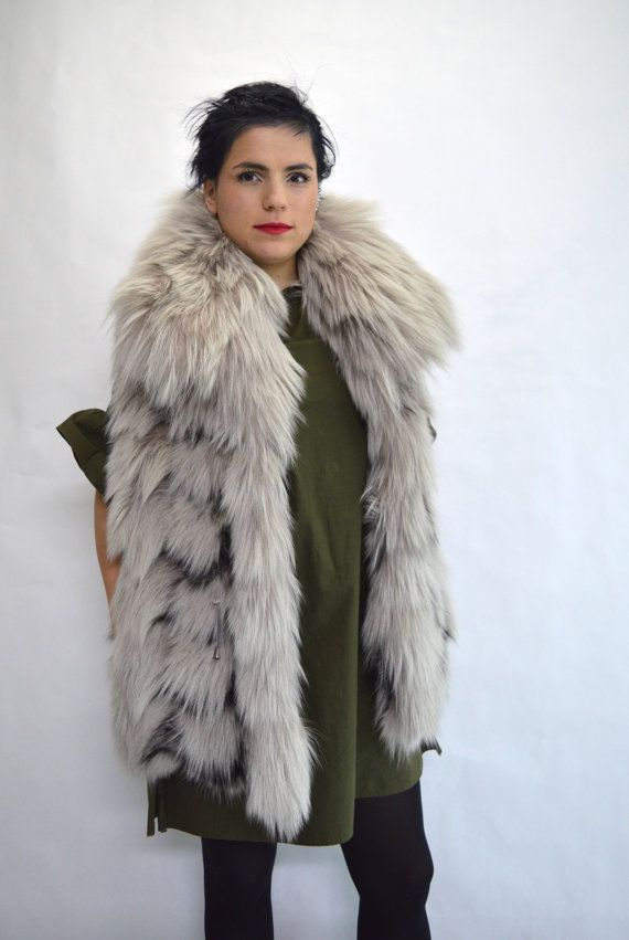 Real fox vest Platinum fox fur collared vest. Big by BeFur on Etsy
