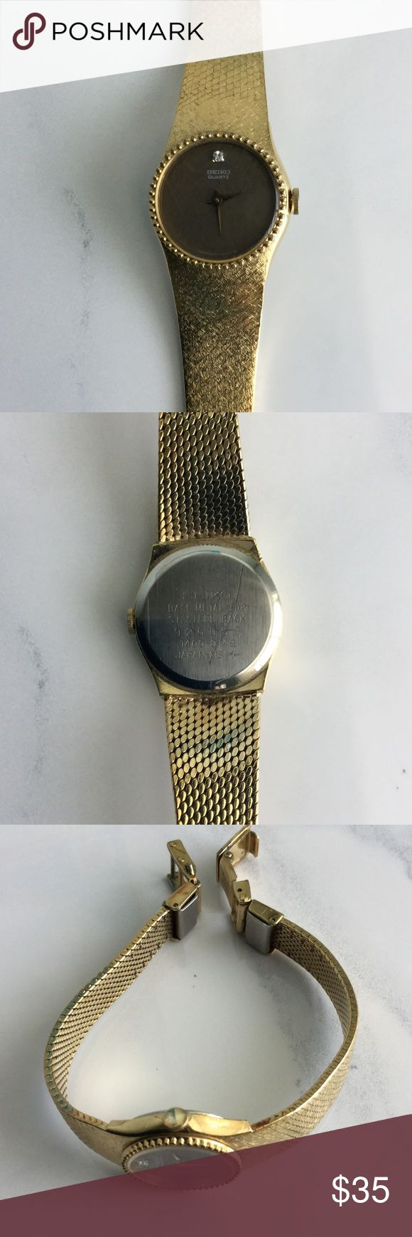 Gold Seiko Women's Watch Vintage Seiko Gold Watch with a diamond at 12 on gold face.  Still works, but needs a new battery.  Purchased in the Bahamas 35 years ago.  Good condition, but some wear near clasp. Seiko Accessories Watches