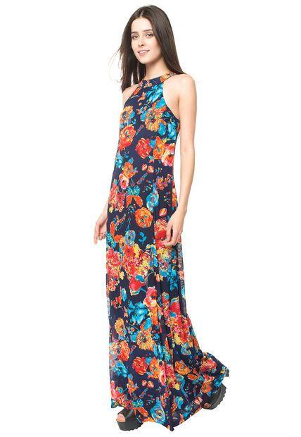 Vestido Largo Flores Azul iO | TodoMercado