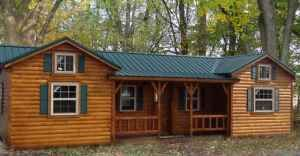 The Hunter Log Cabin for only $5,885 is a beautiful and cheap log cabin kits that offer plenty of sp ...