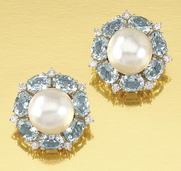 Pair Of Cultured Pearl Aquamarine And Diamond Earrings Seaman Schepps Each Designed As A Cer Centring On Royal Vintage Jewelry
