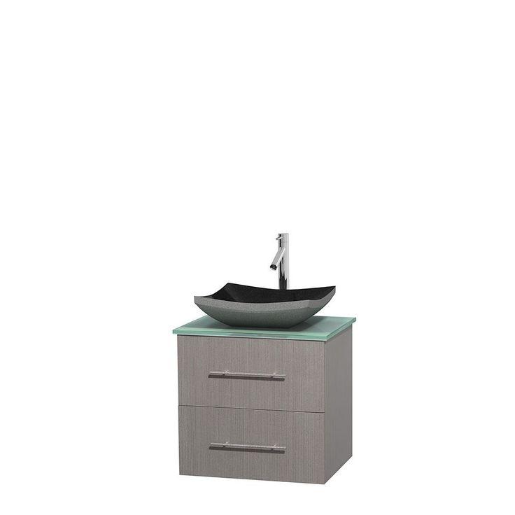 Wyndham Collection Centra 24-inch Single Bathroom Vanity in Grey Oak, No Mirror (Black Granite, Ivory Marble or White Carrera) (Grey Oak,GN Glass Top,Altair Black Sink,No Mir), Size Single Vanities