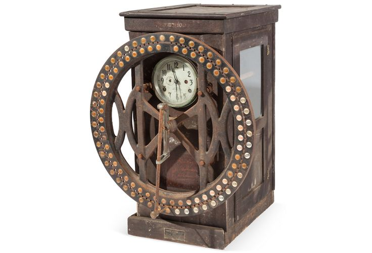 "1910 Original IBM Time Clock on OneKingsLane.com | Dial recorder in oak case, perfect steampunk or merchandising prop. All the mechanicals are intact, includes actual time card on roll. Circa 1910. Not in working order | oak/iron/glass | 27""w x 17.5""d x 35""h 