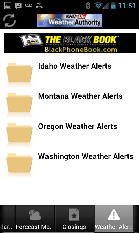Weather alerts around KHQ Android app users Weather