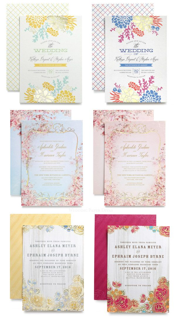wedding invitations divas%0A wedding paper divas gold foil stamped wedding invitation cards pastel  colors and gold stamping