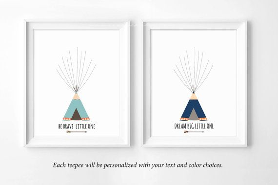 Fingerprint Guestbook tribal teepee tent Baby shower by SEEONEE