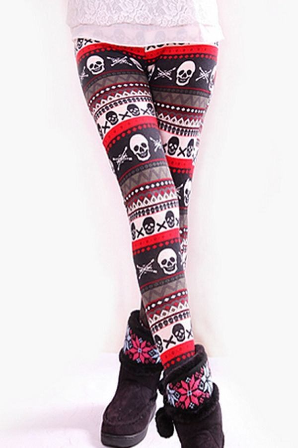 Skull Print Leggings - OASAP.com how do I not own these....jill yay for finding them for me!!!