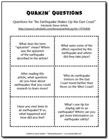Discussion questions and a link to an informational text article about earthquakes. Free from Laura Candler