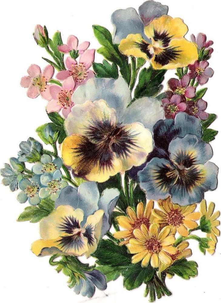 Oblaten Glanzbild scrap die cut chromo Blumen Strauß 13,5 cm pansy Bouquet