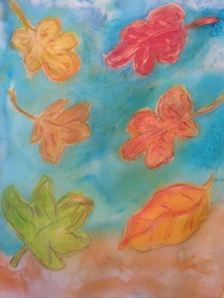Autumn Leaves in Textile Crayons and silk dyes