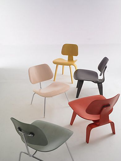 Eames Molded Plywood Chairs designed by Charles and Ray Eames for Herman Miller.