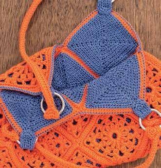 Оранжевая сумочка из мотивов.