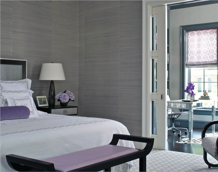 Dark Grey Wall Color Scheme With White And Purple Beds In Small Bedroom  Design Ideas