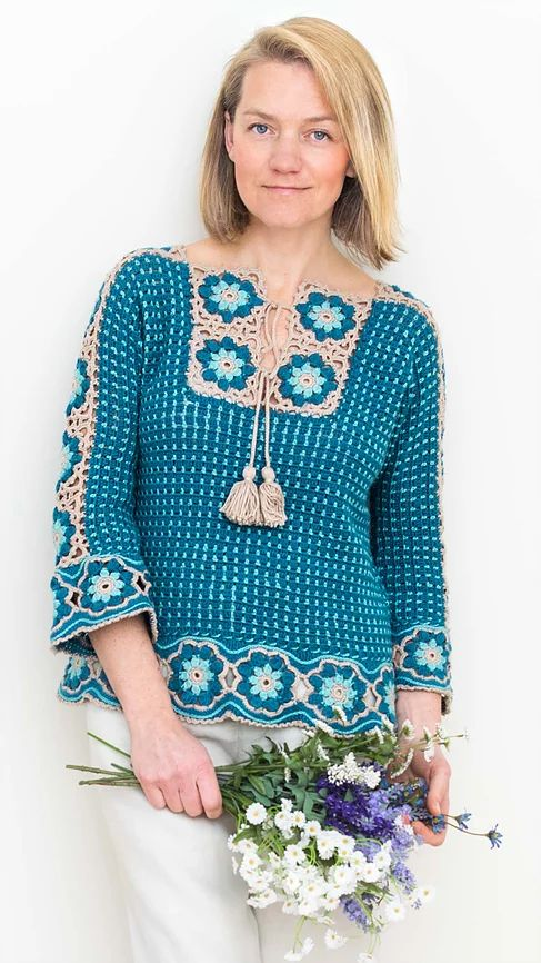 River Whisper Tee / Pullover / Top crochet pattern with step pictures, charts, schematics, video - and written instructions.