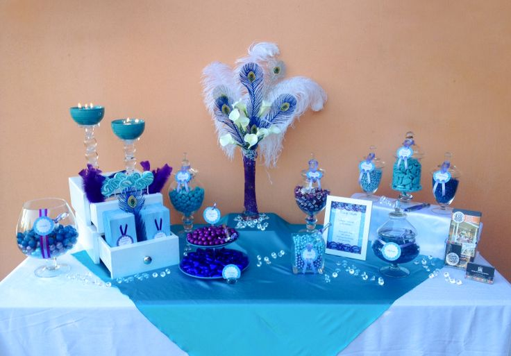 Blue and purple candy table. K & G Cart Co