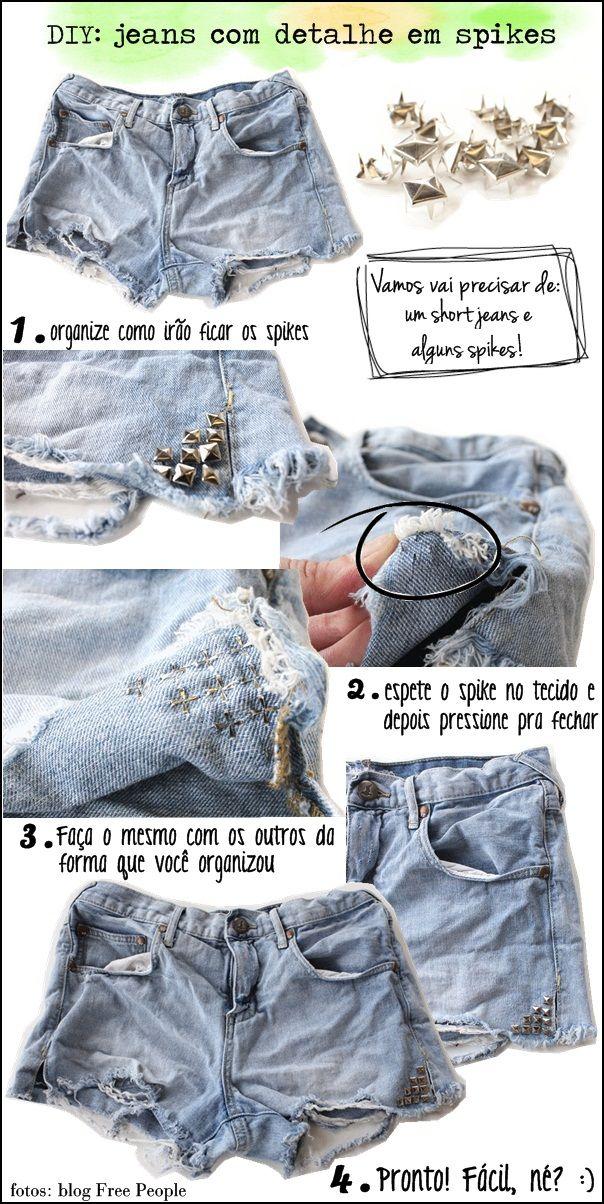 DIY: short jeans com spikes!