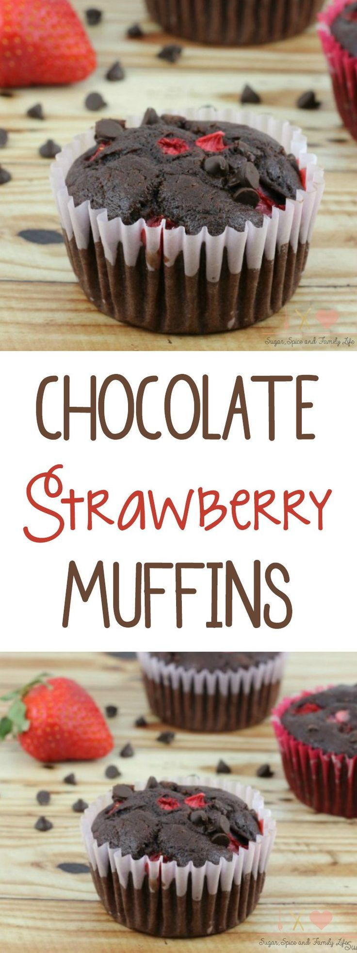 If you love chocolate covered strawberries, then you need to make Chocolate Strawberry Muffins. Each chocolate muffin is filled with chocolate chips and strawberries. - Chocolate Strawberry Muffins Recipe on Sugar, Spice and Family Life #chocolatestrawberry #muffins #chocolate #chocolatechip #chocolatemuffins #chocolatechipmuffins #chocolatechocolatechip #chocolatechocolatechipmuffins #strawberry #strawberrymuffins #recipe