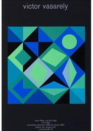 "Victor Vasarely 1966-7 exhibition poster, featuring his work ""Geometrische Compositie"" (?1965?)"