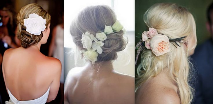 Real Flower Bridal Hair Accessories : Bridal hair with real flowers above i love