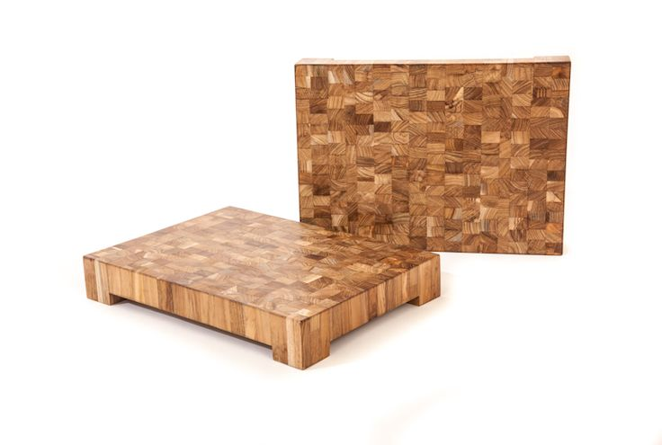 """Chopping Block   Made from end-grain #teak wood which has been #salvaged from off-cuts   W15.5"""" x D11"""" x H2.5"""" - Slab THK1.75"""" #choppingblock #kitchenaccessories #solidwood"""