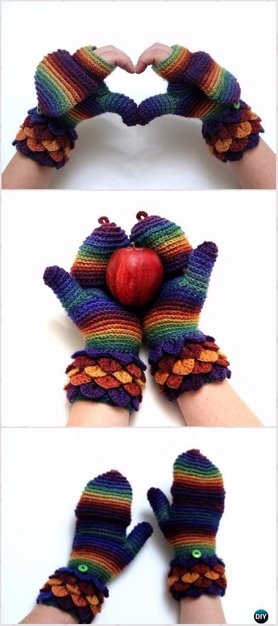 Crochet Crocodile Stitch Mittens Free Pattern [limited time by Dec 14-2017]- Crochet Dragon Scale Crocodile Stitch Gloves Patterns