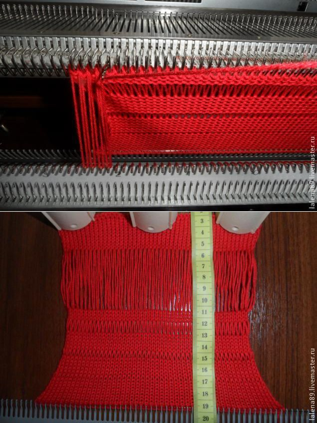 hand tech using ribber gate pegs to create long stitches- works for long loops as well; a few rows need to be knit on the main bed before being able to lift yarn off ribber pegs