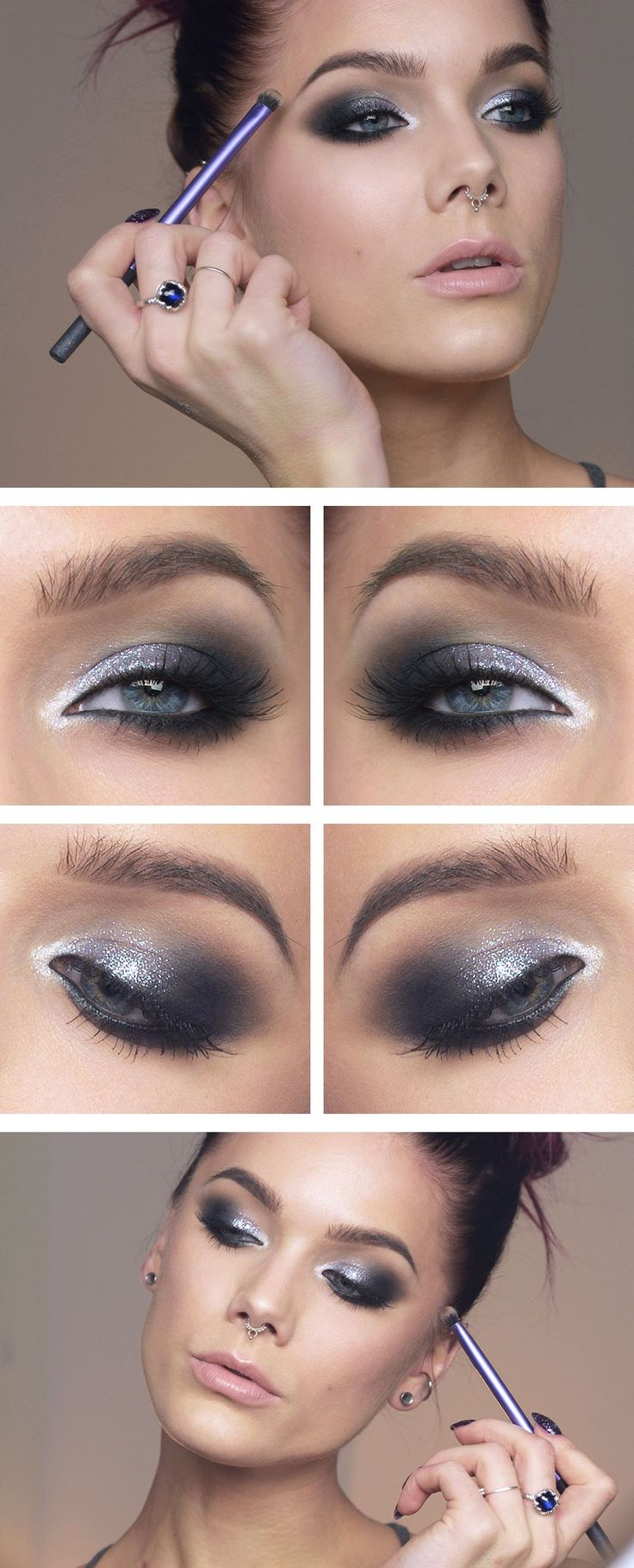 Too faced shadow insurance MAC eyeshadow Carbon NYX Slide on eyeliner Jet black Maybelline color tattoo Infinite White NYX Liquid crystal liner Crystal Pewter Oriflame studio artist lipstick Nude suede NARS Blush Orgasm Anastasia Contour kit