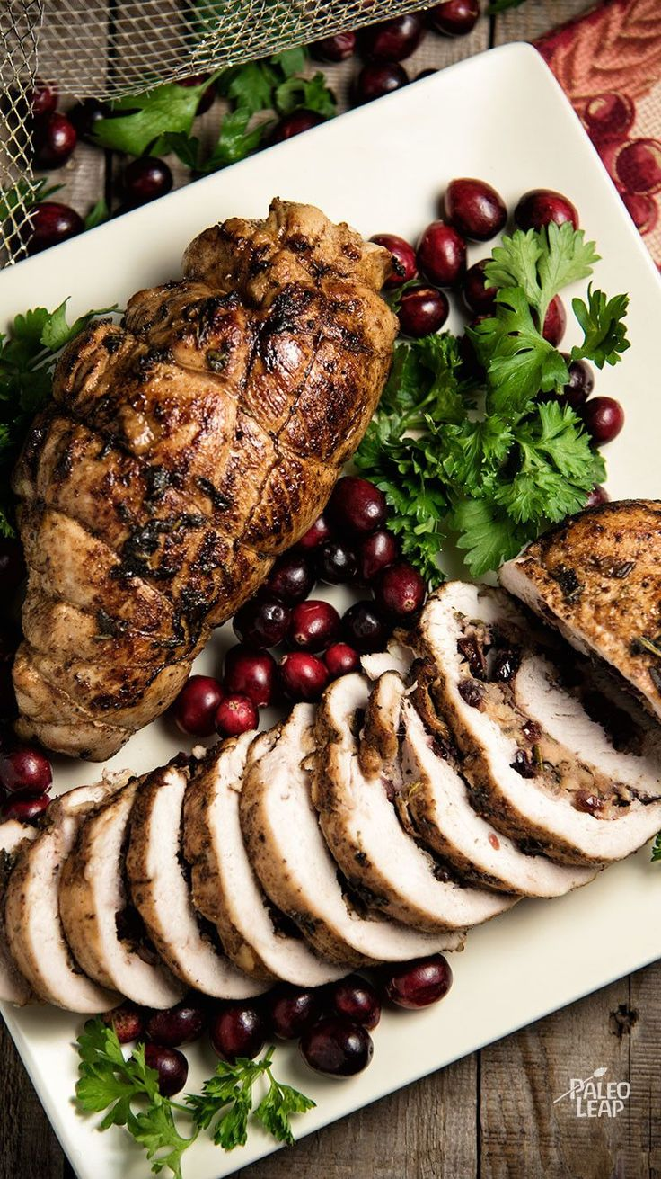 Cranberry And Apple Stuffed Turkey Breasts - No need to cook a whole turkey when you can have a much more manageable feast with just the breast. #Paleo #Holiday #Christmas