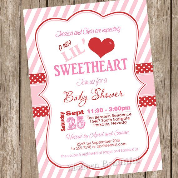 Valentine's Day Baby Shower Invitation pink red by ModernBeautiful, $13.00