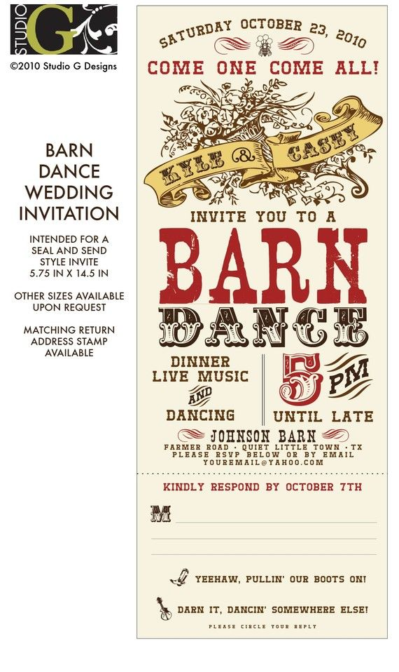 VINTAGE BARN DANCE Wedding Invitation by studioGdesigns on Etsy