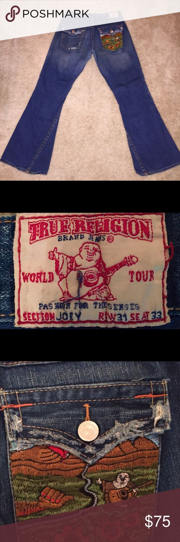 True Religion Jeans Gently worn..like brand new. Distressed. Cozy, pre-washed. Seams distressed a little but great shape. Very good looking pair of jeans! True Religion Pants Boot Cut & Flare