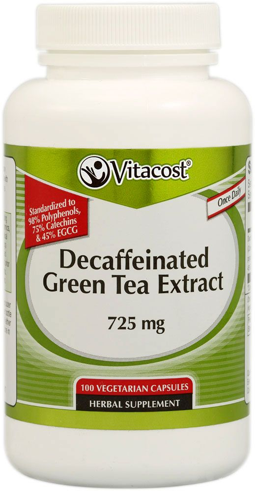 Vitacost Decaffeinated Green Tea Extract -- 725 mg - 100 Vegetarian Capsules - Vitacost