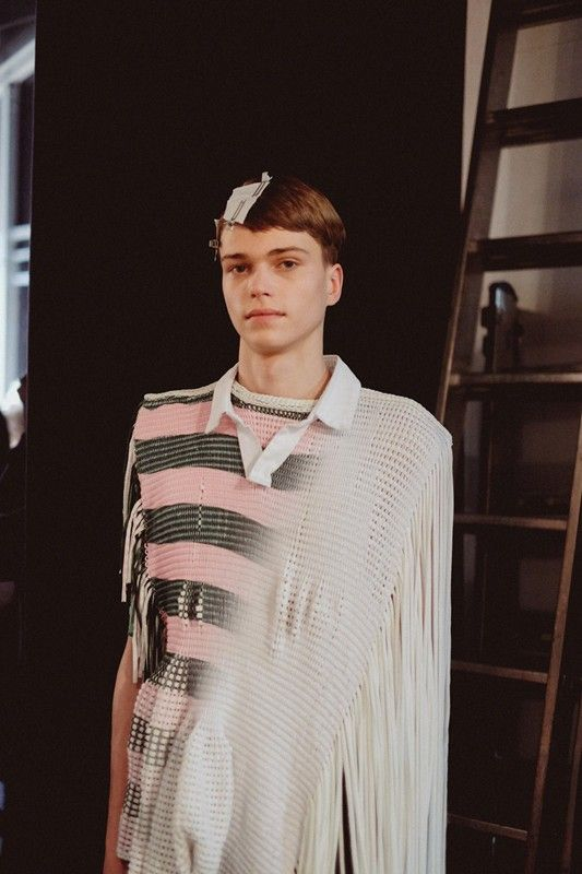 Stripes and innovative knits at Jessica Mort Central St Martins MA14. Photography by Jamie Stoker. More images at: http://www.dazeddigital.com/fashionweek/womenswear/aw14