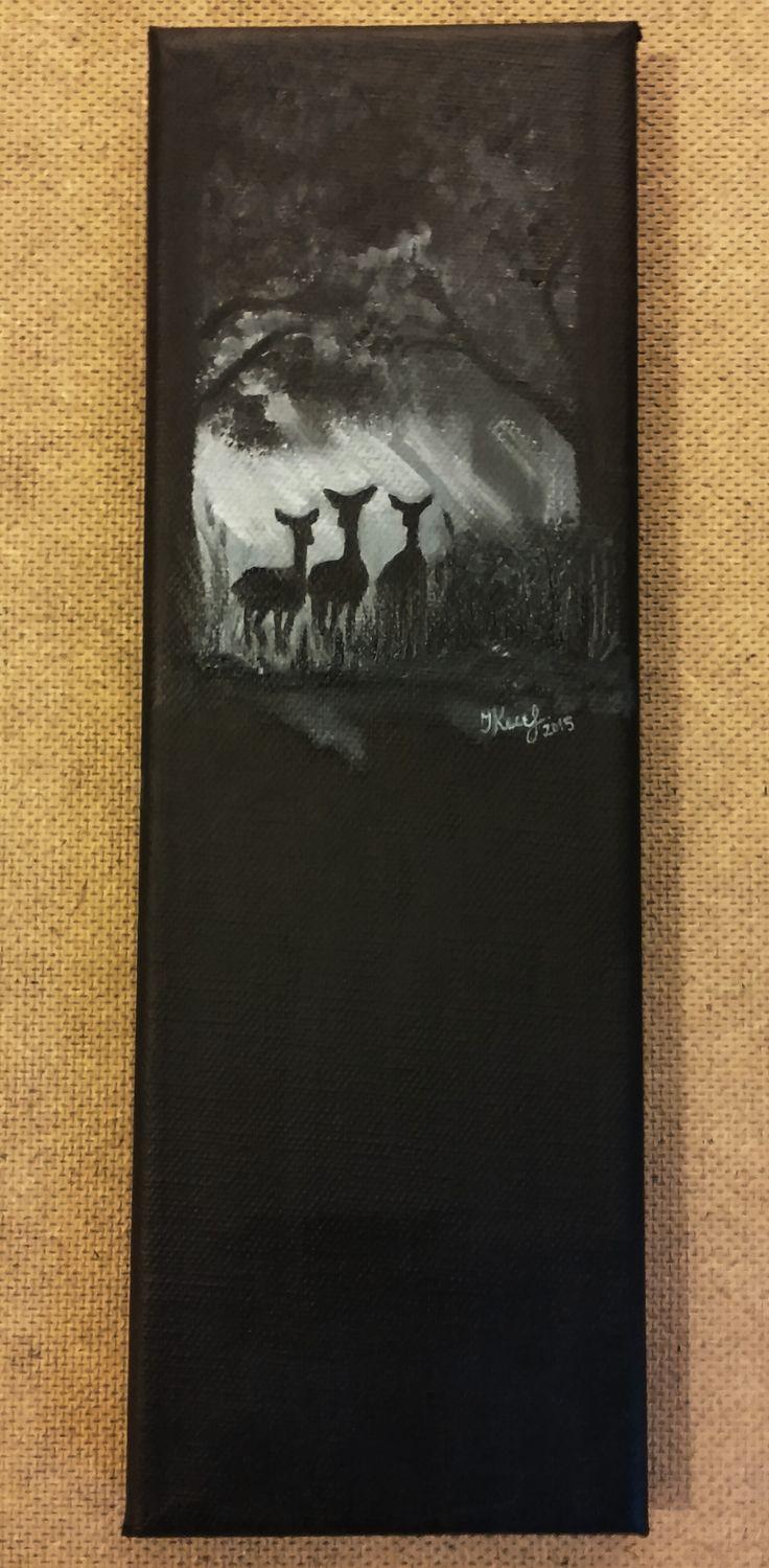 Three does. By Ieva Krivma. Oil. 29x10 cm. Canvas