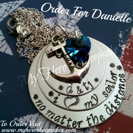 my necklace should be here any day now!   Navy Girlfriend, I love My Sailor - 3 Disc Hand Stamped Stainless Steel Necklace with Love Anchor & Sea Blue Swarovski <3 ..Retail $18.00 plus shipping.. Item Hand Stamped by me.. To Find out more info visit: www.facebook.com/myheroskeepsakes ..To Order Visit: www.myheroskeepsakes.com