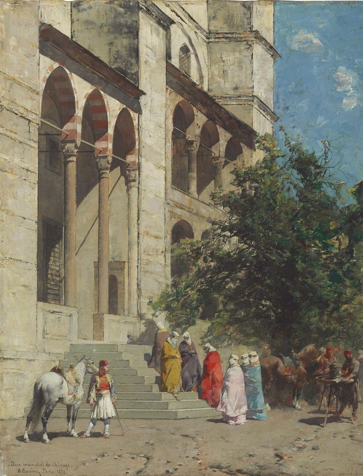 ALBERTO PASINI  ON THE STEPS OF THE MOSQUE, CONSTANTINOPLE