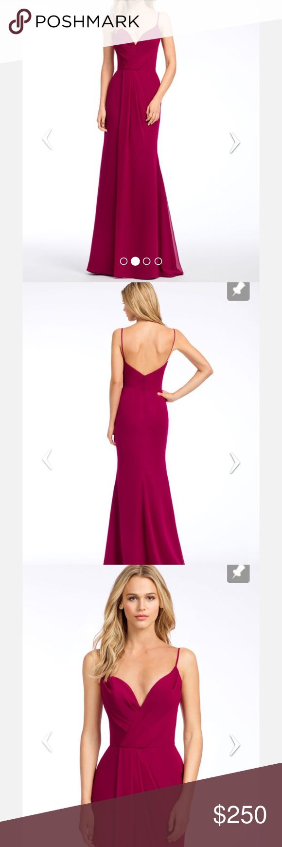 HAYLEY PAIGE OCCASIONS BRIDESMAIDS DRESS Azalea chiffon A-line bridesmaid gown, curved V-neckline, natural waist with side drape on skirt. Color is burgundy. This was originally purchased as a bridesmaids dress but the wedding ended up getting cancelled. hailey paige Dresses Wedding