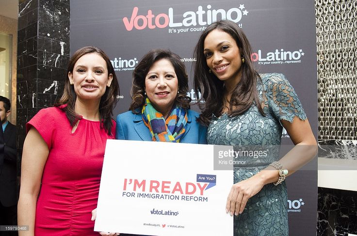 Maria Teresa Kumar, Hilda Solis, Wilmer Valderrama and Rosario Dawson pose for a photo during the Voto Latino's 2013 Inauguration Celebration at Oya Restaurant on January 20, 2013 in Washington, DC.