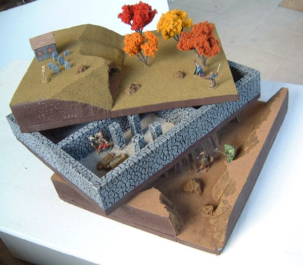 3 Tiers in 3D Foam Gaming Terrain miniatures minis painting drawing resource tool how to tutorial instructions | Create your own roleplaying game material w/ RPG Bard: www.rpgbard.com | Writing inspiration for Dungeons and Dragons DND D&D Pathfinder PFRPG Warhammer 40k Star Wars Shadowrun Call of Cthulhu Lord of the Rings LoTR + d20 fantasy science fiction scifi horror design | Not Trusty Sword art: click artwork for source