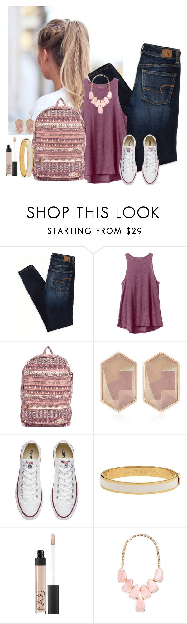 """""""Untitled #759"""" by aubreyspringer ❤ liked on Polyvore featuring American Eagle Outfitters, RVCA, Billabong, Nocturne, Converse, Halcyon Days, NARS Cosmetics and Kendra Scott"""