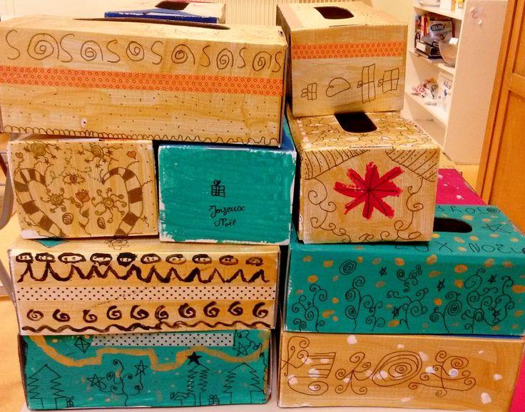 Productions élèves CM2 boîtes de mouchoirs carton peinture et feutre noir (2):