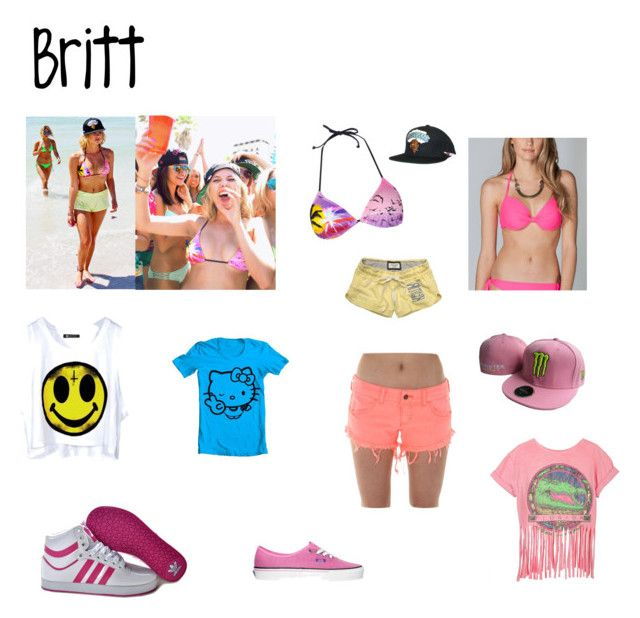 """""""Spring Breakers: Britt"""" by mary99pink ❤ liked on Polyvore featuring Billabong, Full Tilt, adidas Originals, Abercrombie & Fitch, Vans and Hello Kitty"""