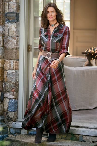 Our Terrific Tartan Dress is a classic shirtdress style in a spectacular plaid. Add a wide belt and boots for the full western-inspired look.