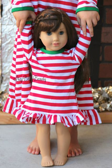 """Discount Today $6.99, Buy 18"""""""" the American Girl Doll Christmas Nightgown Ruffle Dress Girls halloween Pajamas thanksgiving personalized initial doll Dress"""