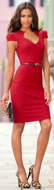 I love tailored dress like this red sheath from Boston Proper, but might be a but too low cut/ tight for the day to night transition