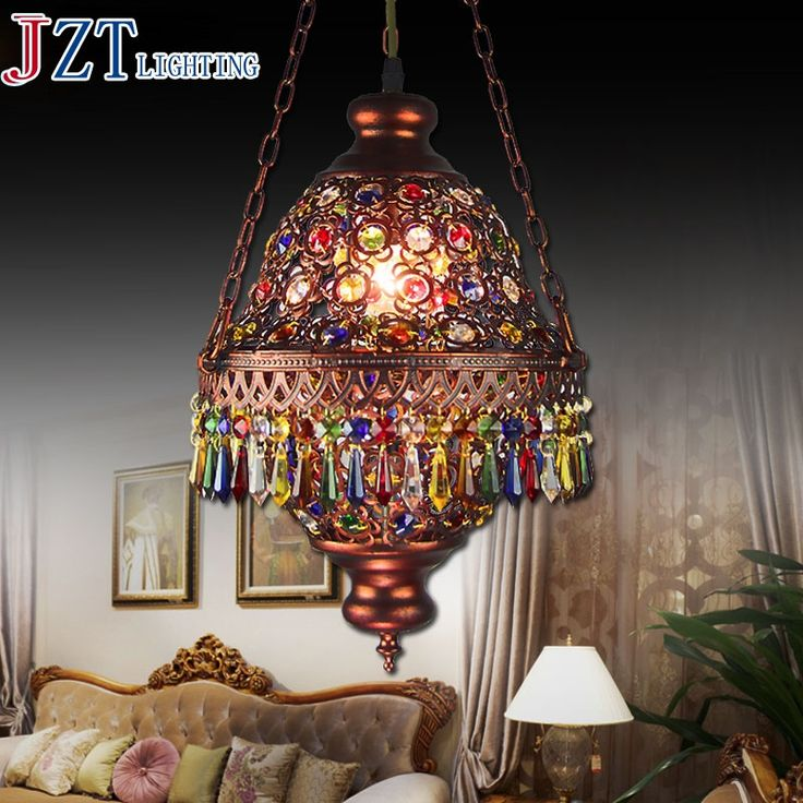 173.34$  Buy now - http://alipme.worldwells.pw/go.php?t=32705125134 - M Bohemia Mediterranean Amorous Feeling Dining-Room Lamp E14 Base Porch Desk Lamp Through-Carved 7 Colour Crystal Pendant Light 173.34$