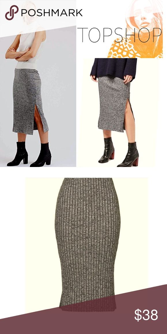 Topshop Ribbed Tube Skirt, NWT Such a versatile piece for any wardrobe! It can be preppy, grunge or chic & worn with boots, flats, or tennis shoes. This is a marl jersey knit with side slits for easy movement & subtle flirtation 😇 Topshop Skirts Midi