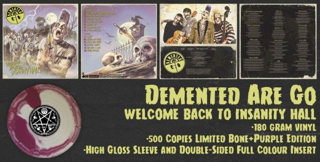 Demented Are Go Welcome Back To Insanity Hall Lp 2nd Rp Lim 500 180 Gram Purple Bone Swirl Rebellion Vinyl Intro Psychobilly